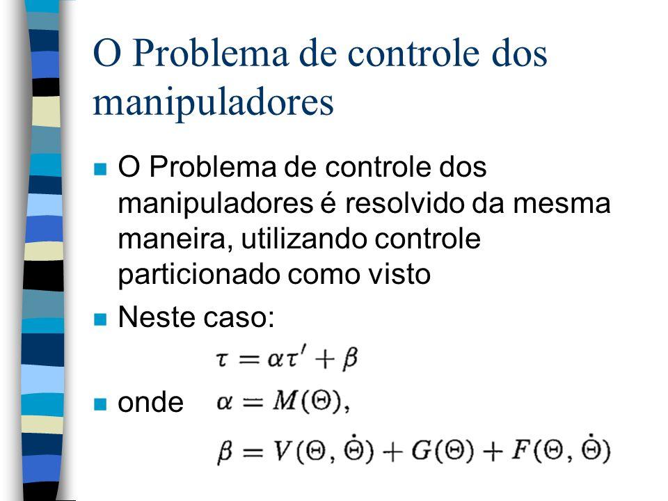 O Problema de controle dos manipuladores n O Problema de controle dos manipuladores é resolvido da mesma maneira, utilizando controle particionado como visto n Neste caso: n onde