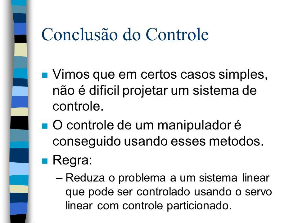 Conclusão do Controle n Vimos que em certos casos simples, não é dificil projetar um sistema de controle.
