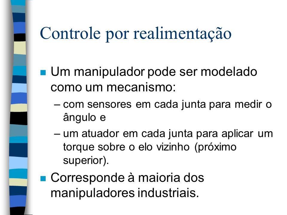 Controle por realimentação n Um manipulador pode ser modelado como um mecanismo: –com sensores em cada junta para medir o ângulo e –um atuador em cada junta para aplicar um torque sobre o elo vizinho (próximo superior).