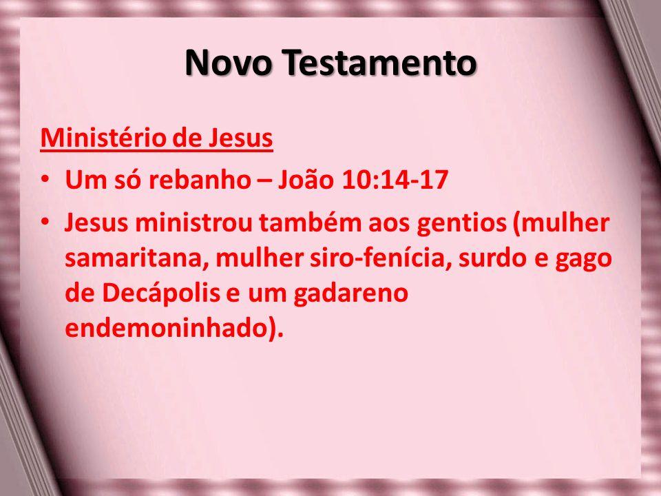 Novo Testamento Ministério de Jesus Um só rebanho – João 10:14-17 Jesus ministrou também aos gentios (mulher samaritana, mulher siro-fenícia, surdo e