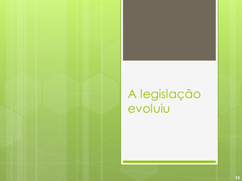 13 A legislação evoluiu