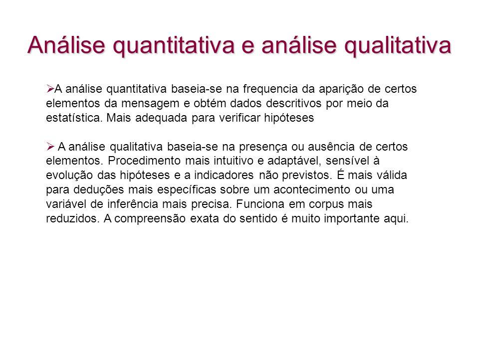 Análise quantitativa e análise qualitativa A análise quantitativa baseia-se na frequencia da aparição de certos elementos da mensagem e obtém dados de