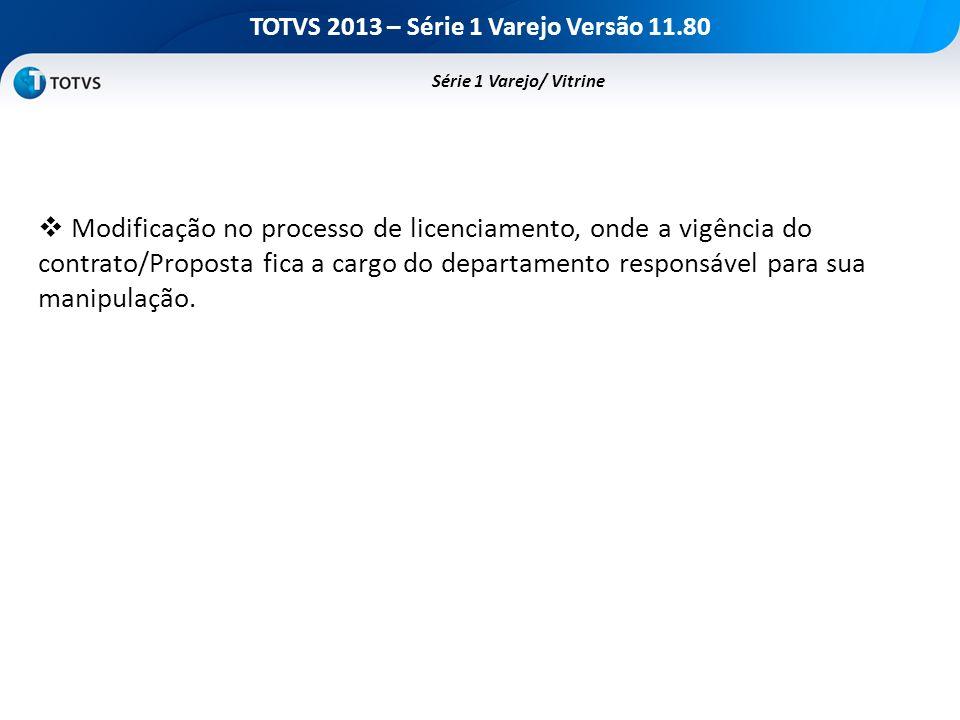 TOTVS 2013 – Série 1 Varejo Versão 11.80 Série 1 Varejo/ Vitrine Modificação no processo de licenciamento, onde a vigência do contrato/Proposta fica a