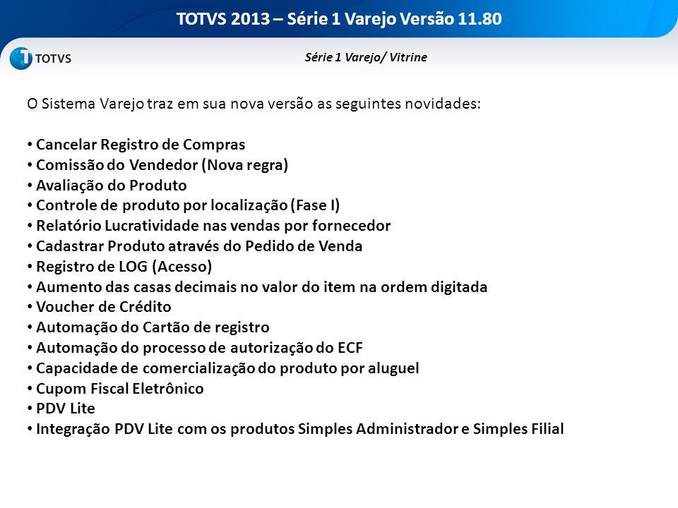 TOTVS 2013 – Série 1 Varejo Versão 11.80 O Sistema Varejo traz em sua nova versão as seguintes novidades: Cancelar Registro de Compras Comissão do Ven