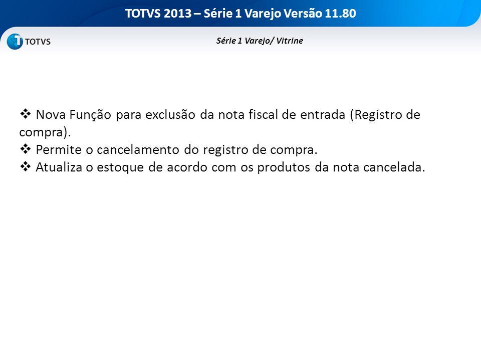 TOTVS 2013 – Série 1 Varejo Versão 11.80 Nova Função para exclusão da nota fiscal de entrada (Registro de compra). Permite o cancelamento do registro