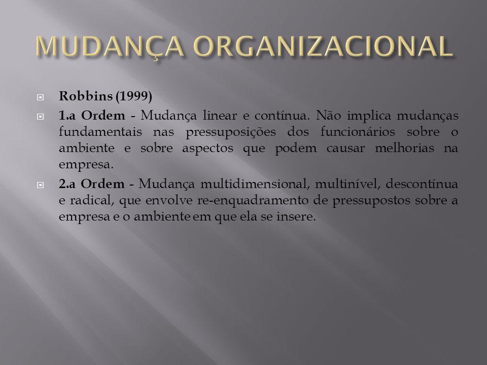 Robbins (1999) 1.a Ordem - Mudança linear e contínua. Não implica mudanças fundamentais nas pressuposições dos funcionários sobre o ambiente e sobre a