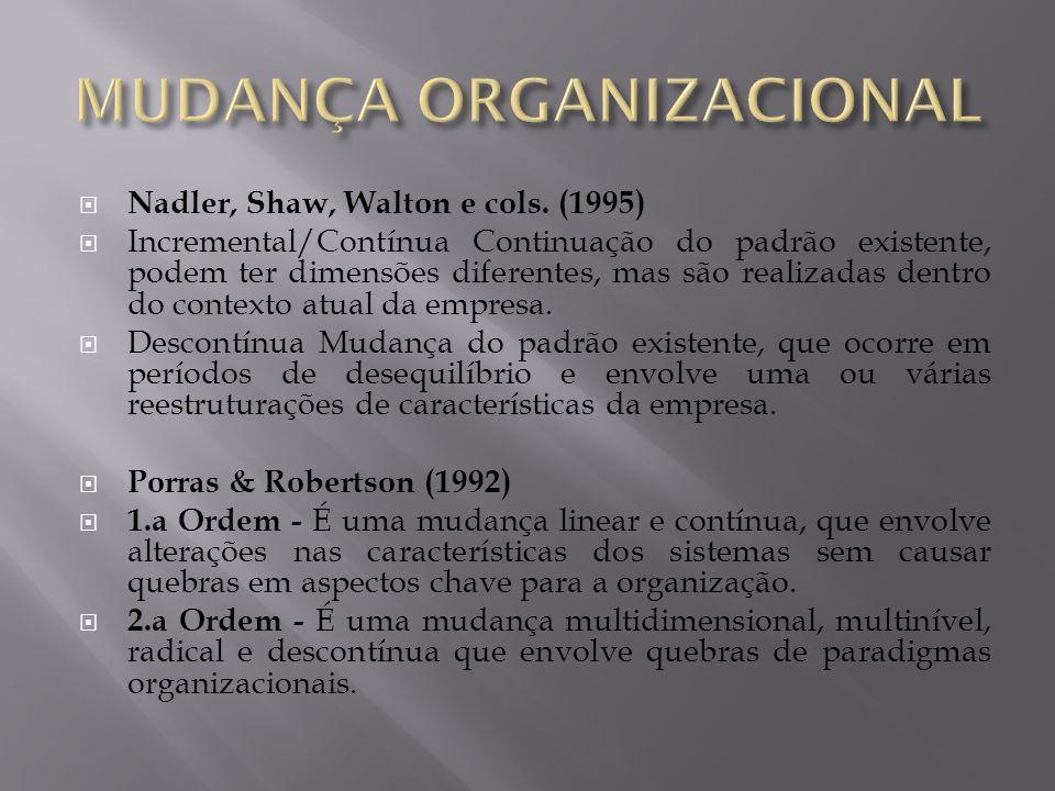 Nadler, Shaw, Walton e cols. (1995) Incremental/Contínua Continuação do padrão existente, podem ter dimensões diferentes, mas são realizadas dentro do