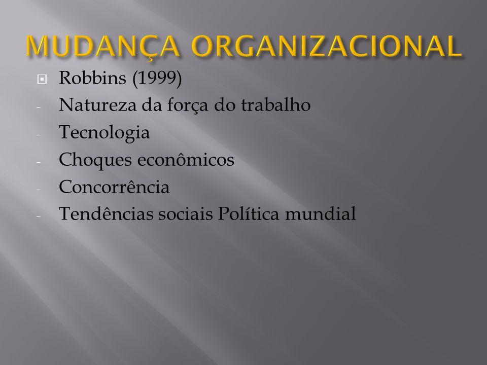 Robbins (1999) - Natureza da força do trabalho - Tecnologia - Choques econômicos - Concorrência - Tendências sociais Política mundial