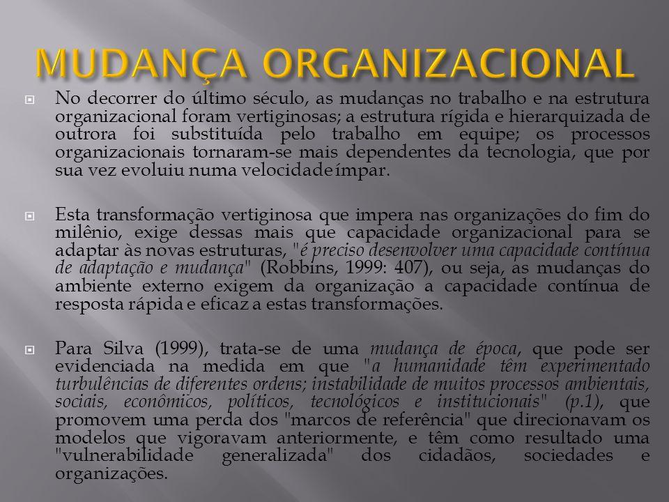 No decorrer do último século, as mudanças no trabalho e na estrutura organizacional foram vertiginosas; a estrutura rígida e hierarquizada de outrora