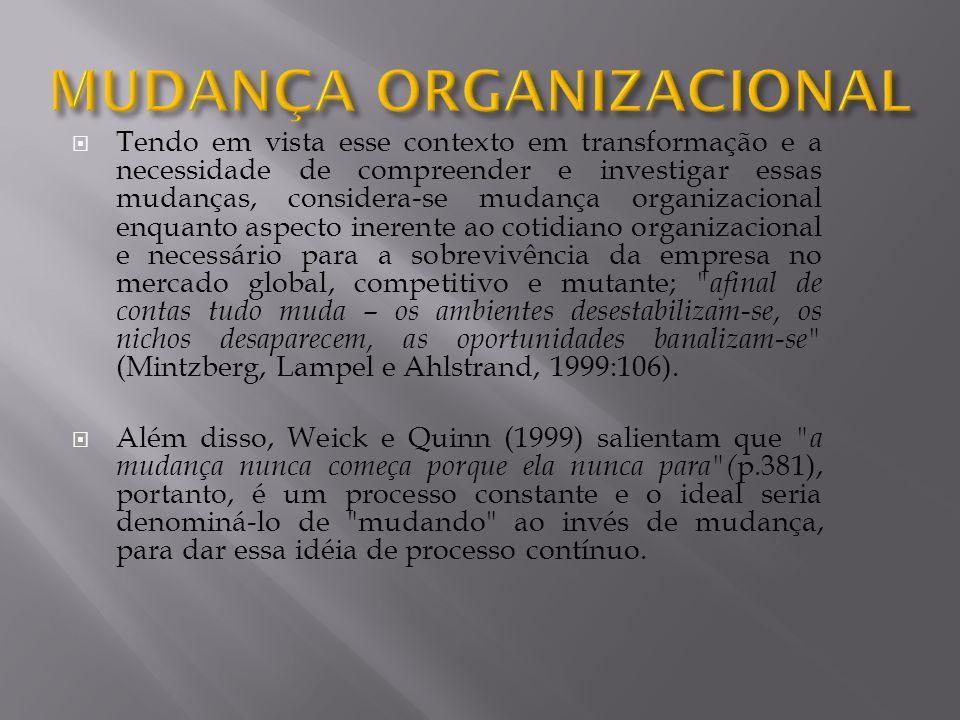 Tendo em vista esse contexto em transformação e a necessidade de compreender e investigar essas mudanças, considera-se mudança organizacional enquanto
