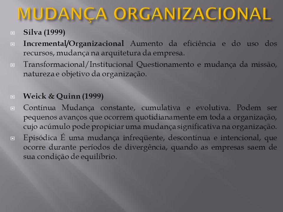 Silva (1999) Incremental/Organizacional Aumento da eficiência e do uso dos recursos, mudança na arquitetura da empresa. Transformacional/Institucional
