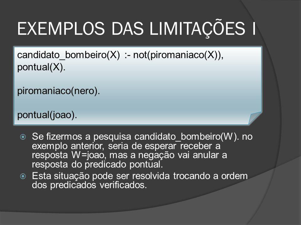 EXEMPLOS DAS LIMITAÇÕES II Intuitivamente sabemos que a clausula anterior é logicamente idêntica à clausula verificar(G) :- G.