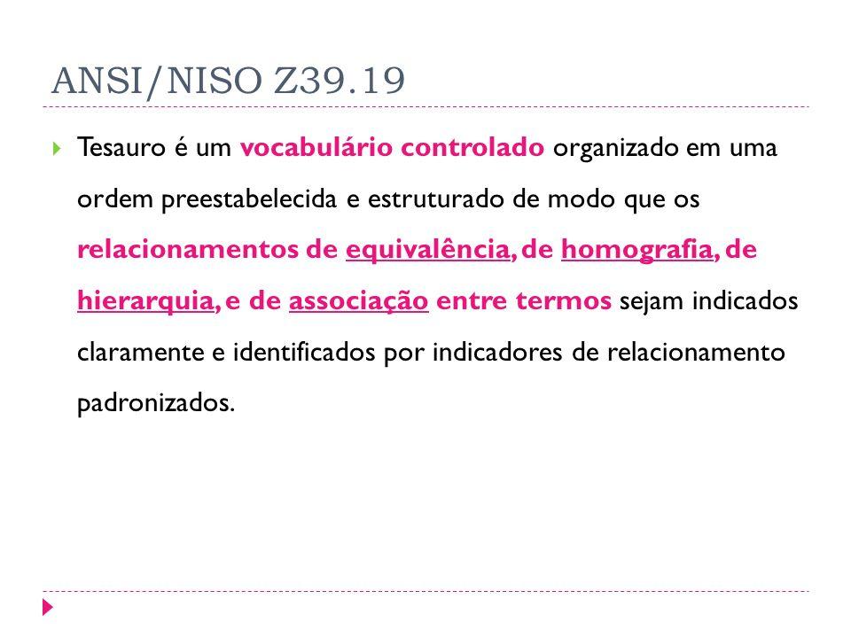 ANSI/NISO Z39.19 Tesauro é um vocabulário controlado organizado em uma ordem preestabelecida e estruturado de modo que os relacionamentos de equivalência, de homografia, de hierarquia, e de associação entre termos sejam indicados claramente e identificados por indicadores de relacionamento padronizados.