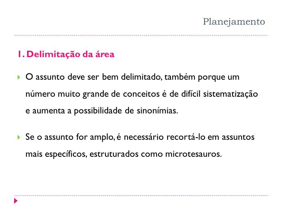 Planejamento 1. Delimitação da área O assunto deve ser bem delimitado, também porque um número muito grande de conceitos é de difícil sistematização e
