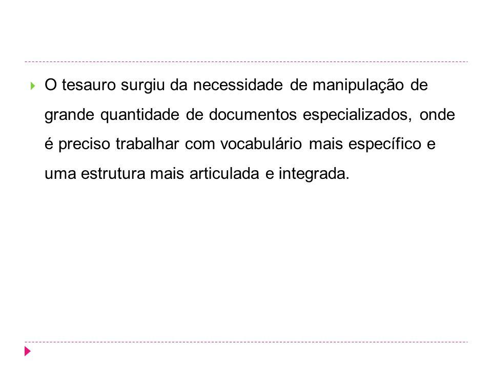 O tesauro surgiu da necessidade de manipulação de grande quantidade de documentos especializados, onde é preciso trabalhar com vocabulário mais especí