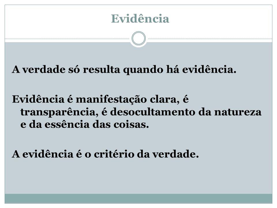 Evidência A verdade só resulta quando há evidência. Evidência é manifestação clara, é transparência, é desocultamento da natureza e da essência das co