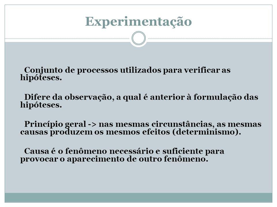 Experimentação Conjunto de processos utilizados para verificar as hipóteses. Difere da observação, a qual é anterior à formulação das hipóteses. Princ