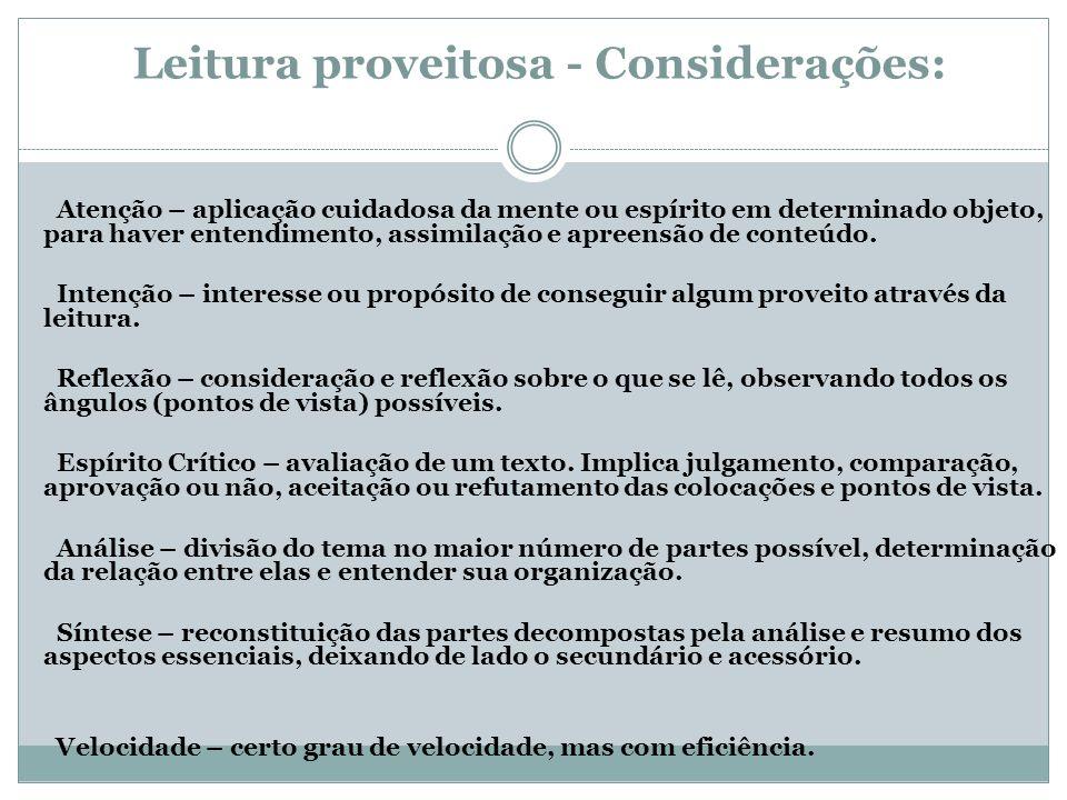 Leitura proveitosa - Considerações: Atenção – aplicação cuidadosa da mente ou espírito em determinado objeto, para haver entendimento, assimilação e a