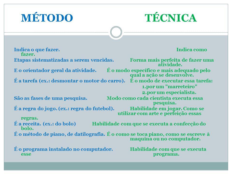 Técnicas Aplicação do plano metodológico e a forma especial de o executar.