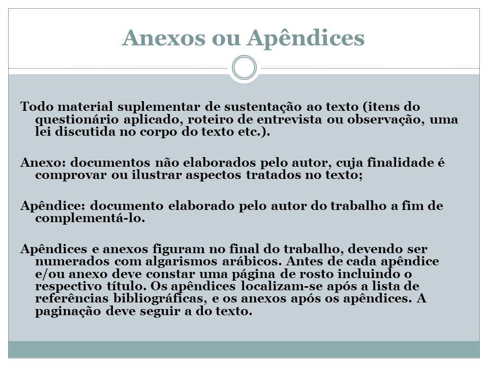 Anexos ou Apêndices Todo material suplementar de sustentação ao texto (itens do questionário aplicado, roteiro de entrevista ou observação, uma lei di