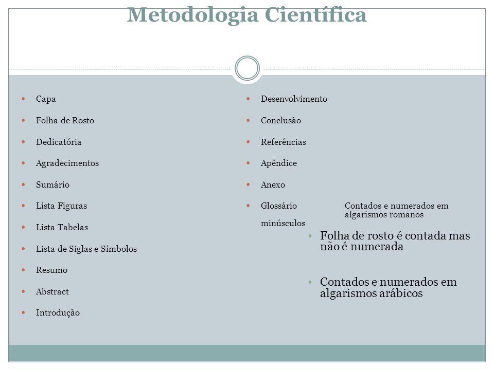 Metodologia Científica Capa Folha de Rosto Dedicatória Agradecimentos Sumário Lista Figuras Lista Tabelas Lista de Siglas e Símbolos Resumo Abstract I