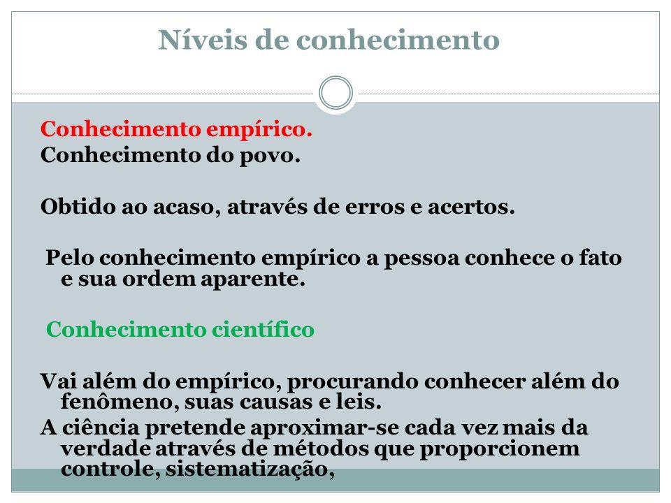 Experimentação Conjunto de processos utilizados para verificar as hipóteses.