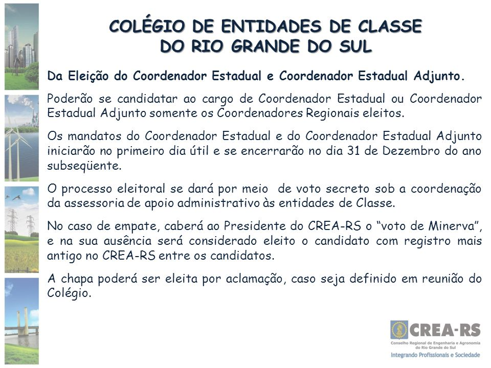 COLÉGIO DE ENTIDADES DE CLASSE DO RIO GRANDE DO SUL Da Eleição do Coordenador Estadual e Coordenador Estadual Adjunto. Poderão se candidatar ao cargo