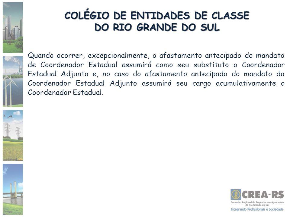 COLÉGIO DE ENTIDADES DE CLASSE DO RIO GRANDE DO SUL Quando ocorrer, excepcionalmente, o afastamento antecipado do mandato de Coordenador Estadual assu
