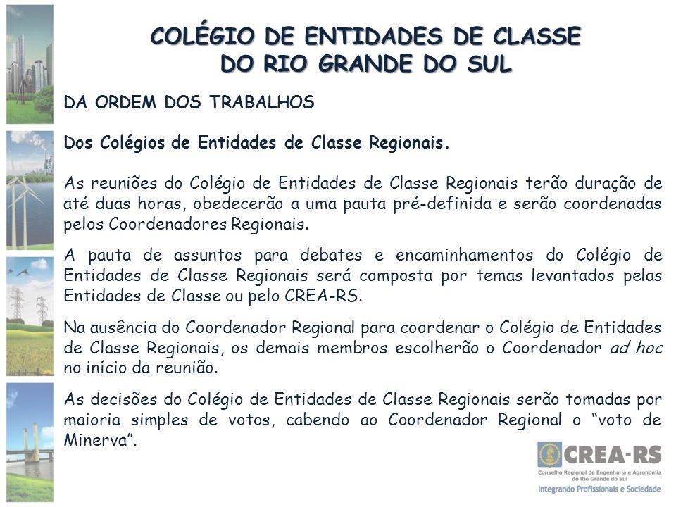 COLÉGIO DE ENTIDADES DE CLASSE DO RIO GRANDE DO SUL DA ORDEM DOS TRABALHOS Dos Colégios de Entidades de Classe Regionais. As reuniões do Colégio de En