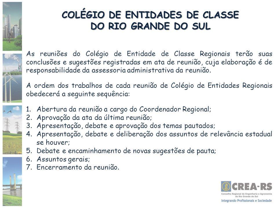 COLÉGIO DE ENTIDADES DE CLASSE DO RIO GRANDE DO SUL As reuniões do Colégio de Entidade de Classe Regionais terão suas conclusões e sugestões registrad