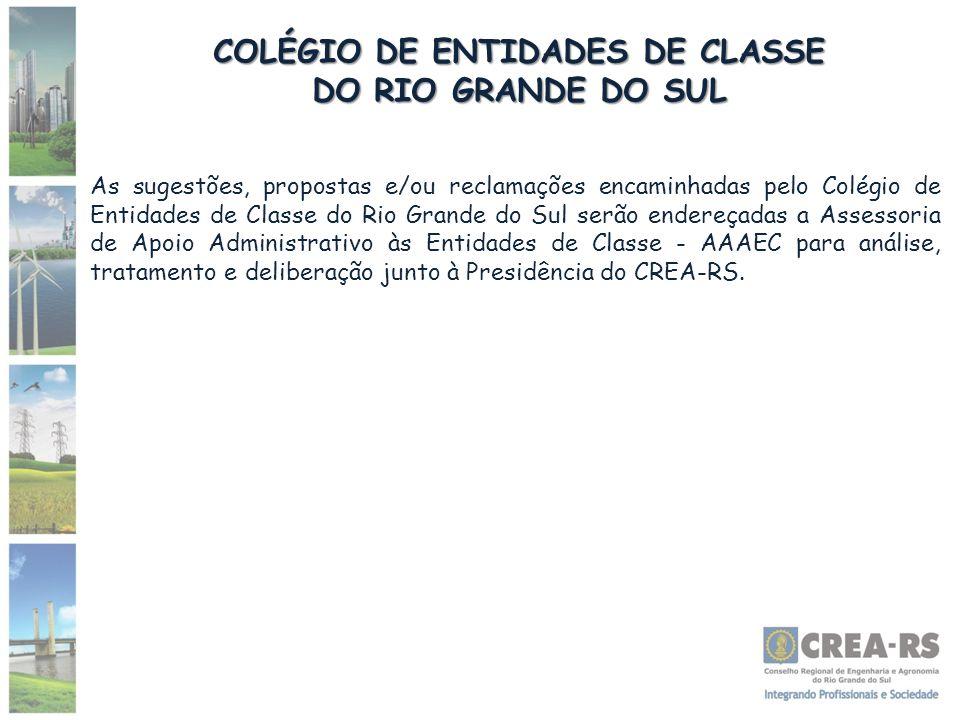 COLÉGIO DE ENTIDADES DE CLASSE DO RIO GRANDE DO SUL As sugestões, propostas e/ou reclamações encaminhadas pelo Colégio de Entidades de Classe do Rio G