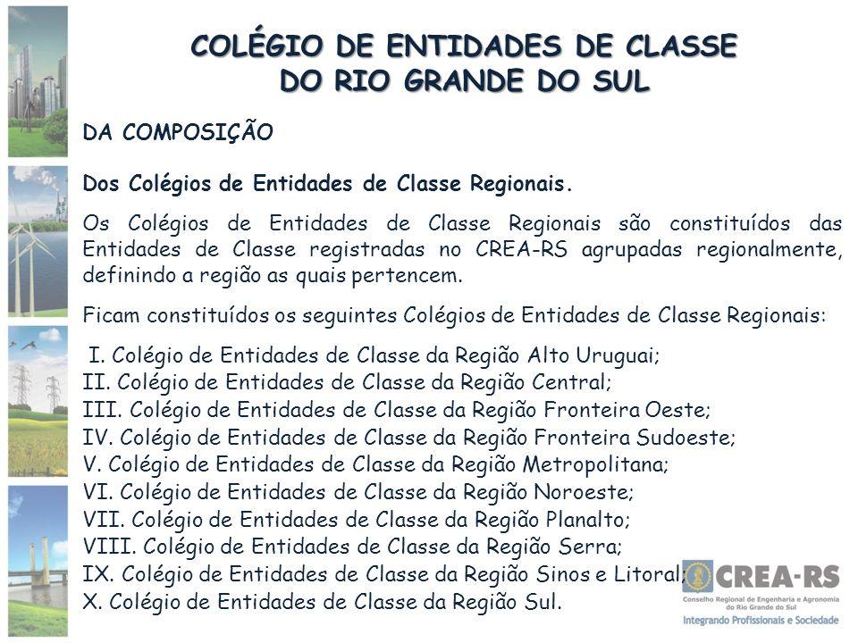 COLÉGIO DE ENTIDADES DE CLASSE DO RIO GRANDE DO SUL DA COMPOSIÇÃO Dos Colégios de Entidades de Classe Regionais. Os Colégios de Entidades de Classe Re