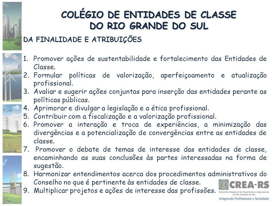 COLÉGIO DE ENTIDADES DE CLASSE DO RIO GRANDE DO SUL DA FINALIDADE E ATRIBUIÇÕES 1.Promover ações de sustentabilidade e fortalecimento das Entidades de Classe.