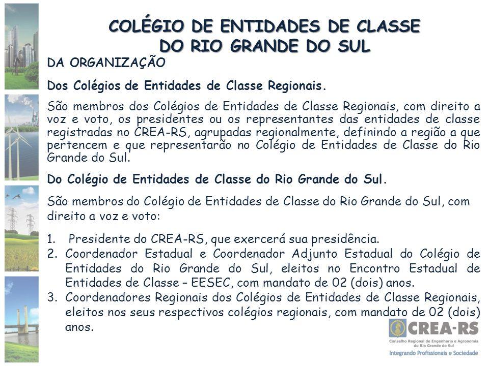 COLÉGIO DE ENTIDADES DE CLASSE DO RIO GRANDE DO SUL DA ORGANIZAÇÃO Dos Colégios de Entidades de Classe Regionais. São membros dos Colégios de Entidade