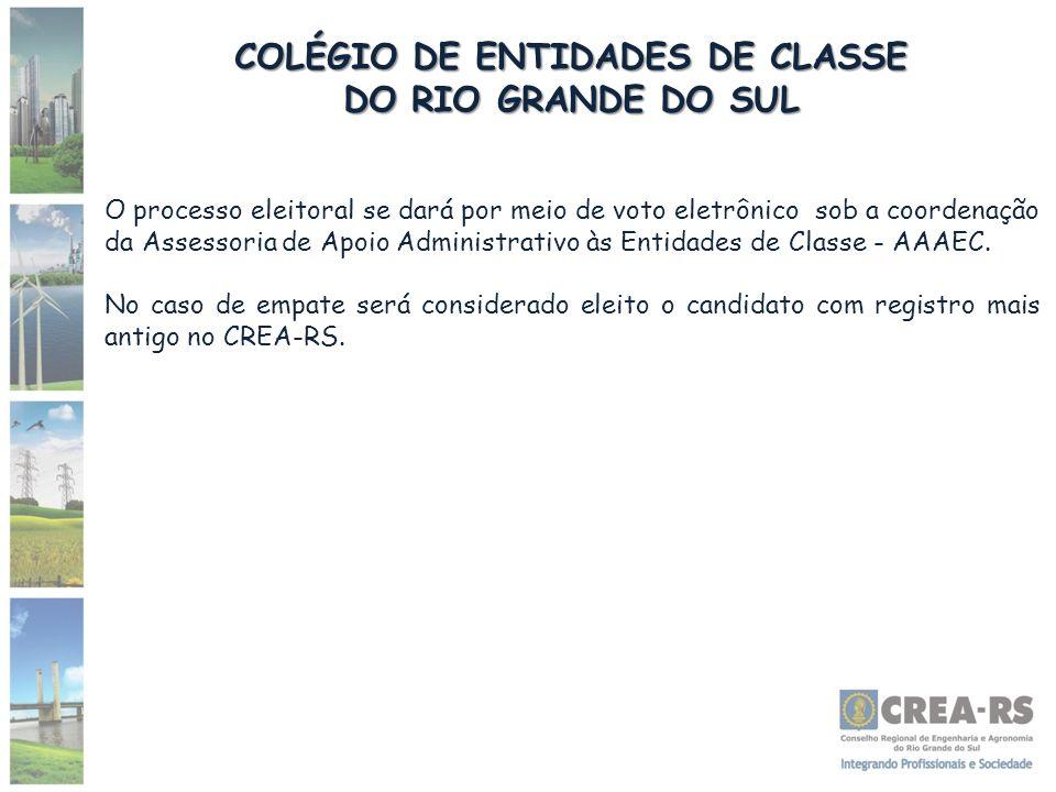 COLÉGIO DE ENTIDADES DE CLASSE DO RIO GRANDE DO SUL O processo eleitoral se dará por meio de voto eletrônico sob a coordenação da Assessoria de Apoio Administrativo às Entidades de Classe - AAAEC.