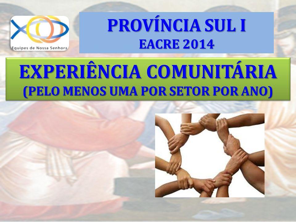 EXPERIÊNCIA COMUNITÁRIA (PELO MENOS UMA POR SETOR POR ANO) EXPERIÊNCIA COMUNITÁRIA (PELO MENOS UMA POR SETOR POR ANO) PROVÍNCIA SUL I EACRE 2014