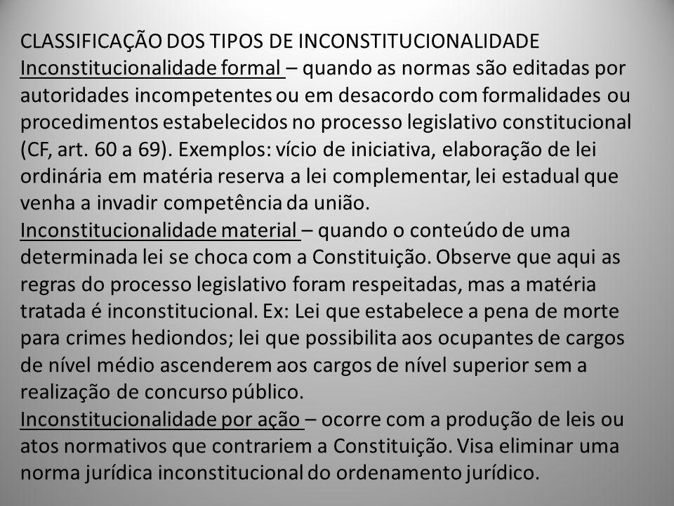 CLASSIFICAÇÃO DOS TIPOS DE INCONSTITUCIONALIDADE Inconstitucionalidade formal – quando as normas são editadas por autoridades incompetentes ou em desa