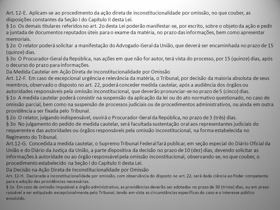 Art. 12-E. Aplicam-se ao procedimento da ação direta de inconstitucionalidade por omissão, no que couber, as disposições constantes da Seção I do Capí