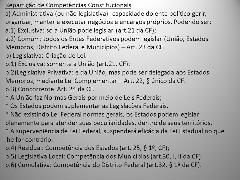 Repartição de Competências Constitucionais a) Administrativa (ou não legislativa)- capacidade do ente político gerir, organizar, manter e executar neg