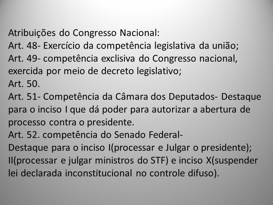 Atribuições do Congresso Nacional: Art. 48- Exercício da competência legislativa da união; Art. 49- competência exclisiva do Congresso nacional, exerc