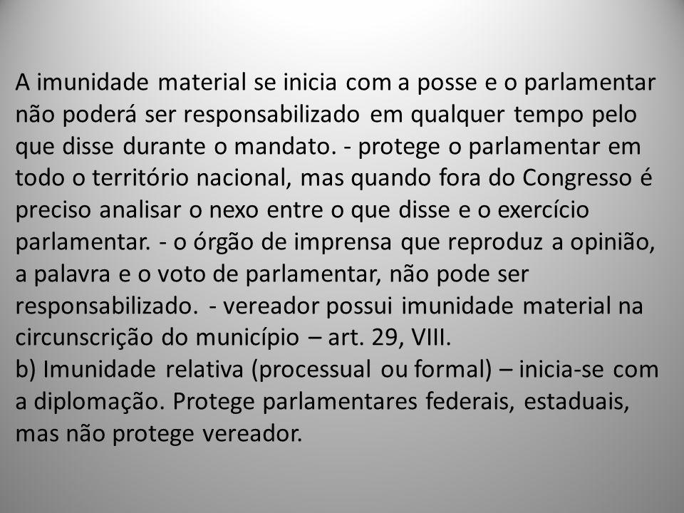 A imunidade material se inicia com a posse e o parlamentar não poderá ser responsabilizado em qualquer tempo pelo que disse durante o mandato. - prote