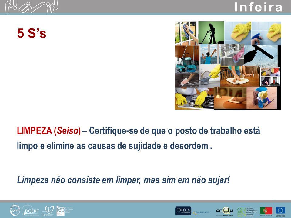 LIMPEZA ( Seiso ) – Certifique-se de que o posto de trabalho está limpo e elimine as causas de sujidade e desordem.