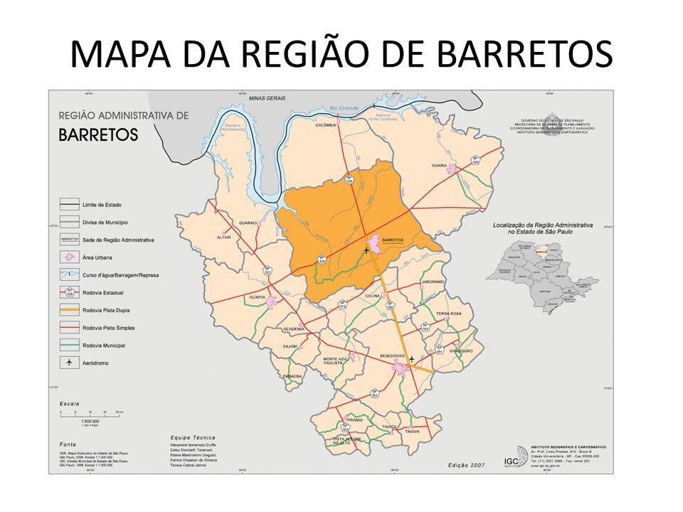 MAPA DA REGIÃO DE BARRETOS