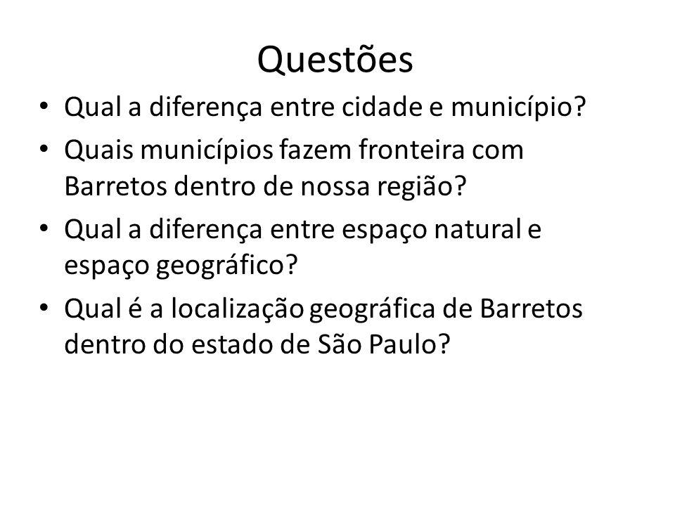 Questões Qual a diferença entre cidade e município? Quais municípios fazem fronteira com Barretos dentro de nossa região? Qual a diferença entre espaç