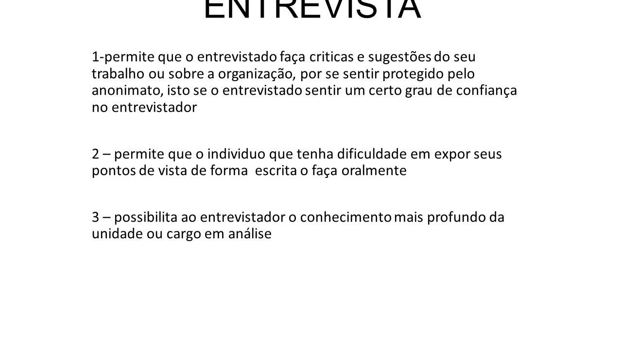 VANTAGENS DA ENTREVISTA 1-permite que o entrevistado faça criticas e sugestões do seu trabalho ou sobre a organização, por se sentir protegido pelo an