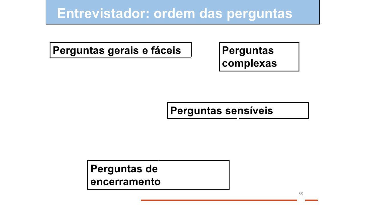 Entrevistador: ordem das perguntas 33 Perguntas gerais e fáceisPerguntas complexas Perguntas sensíveis Perguntas de encerramento