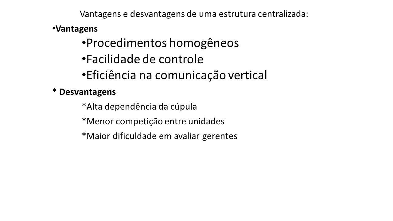 Vantagens e desvantagens de uma estrutura centralizada: Vantagens Procedimentos homogêneos Facilidade de controle Eficiência na comunicação vertical *