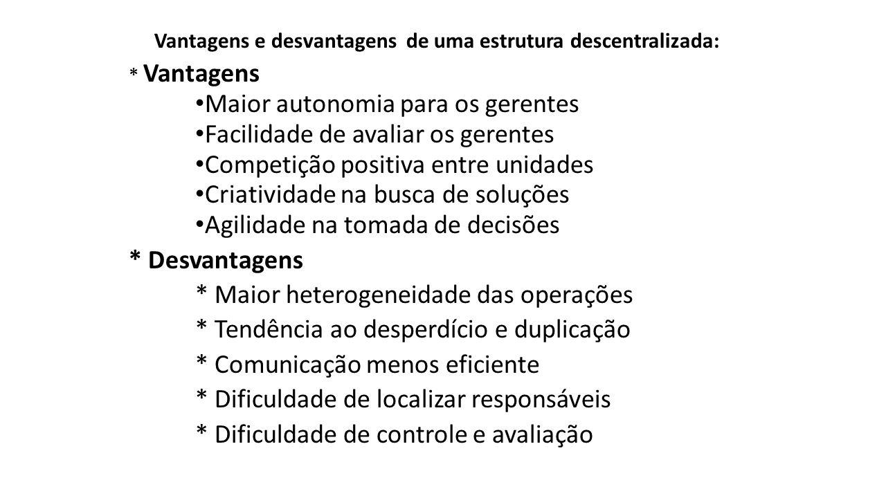 Vantagens e desvantagens de uma estrutura descentralizada: * Vantagens Maior autonomia para os gerentes Facilidade de avaliar os gerentes Competição p