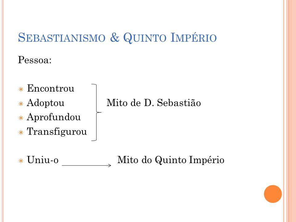S EBASTIANISMO & Q UINTO I MPÉRIO Pessoa: Encontrou AdoptouMito de D. Sebastião Aprofundou Transfigurou Uniu-o Mito do Quinto Império