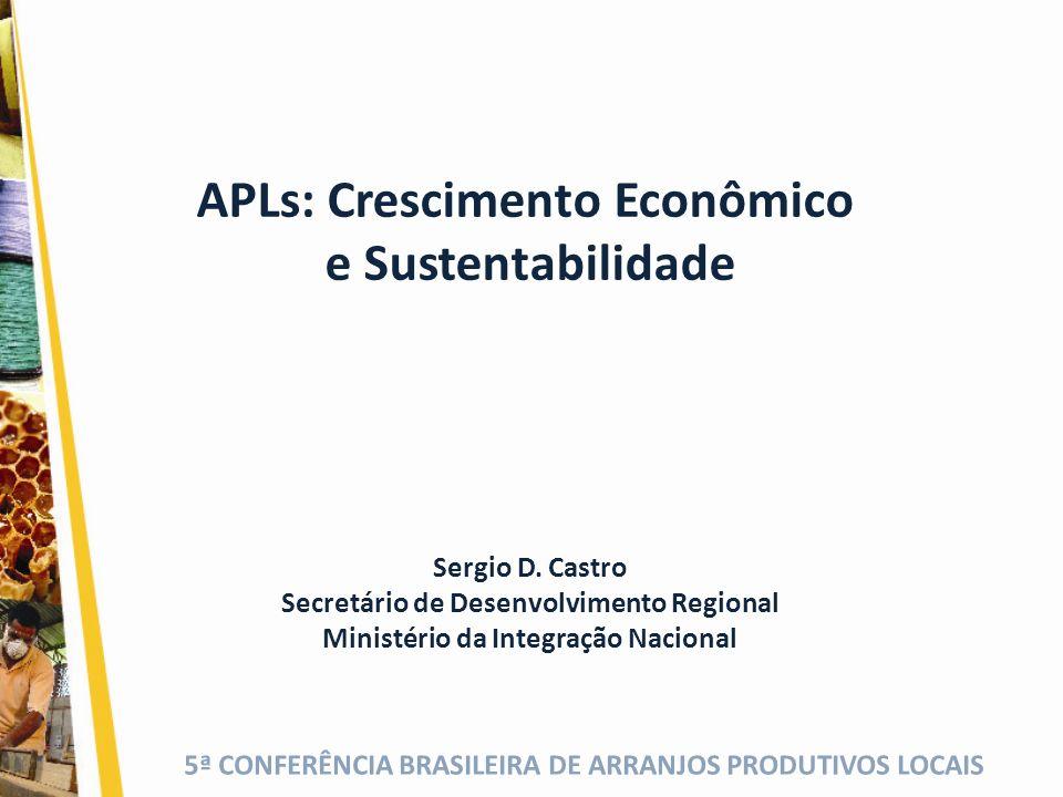 5ª CONFERÊNCIA BRASILEIRA DE ARRANJOS PRODUTIVOS LOCAIS APLs: Crescimento Econômico e Sustentabilidade Sergio D. Castro Secretário de Desenvolvimento